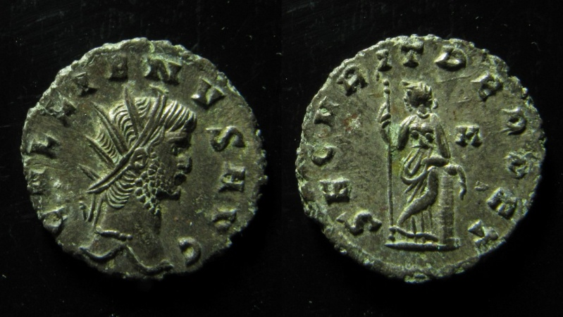 Ancient Coins - Gallienus, Silvered antoninianus, Rome mint, 20mm, Rare!