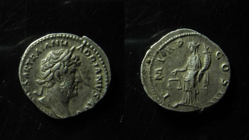Ancient Coins - Hadrian Silver Denarius. (3.3g), VF+