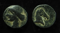 CARTHAGE. Circa 300-264 BC. Æ 19mm. Crude style of dies!!!