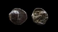 Ancient Coins - Samaria, Imitative of Athens. Silver obol. 9 mm. Circa 375 - 345 BC.