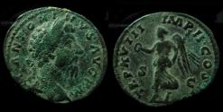 Ancient Coins - Marcus Aurelius As, AE 29 mm. (10.5gm) Rare legend!