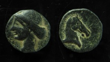 Ancient Coins - CARTHAGE. Circa 300-264 BC. Æ 19mm. Crude style of dies!!!