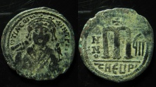 Ancient Coins - Tiberius II. AE 40 Nummi.  Antioch mint. Clear legend.