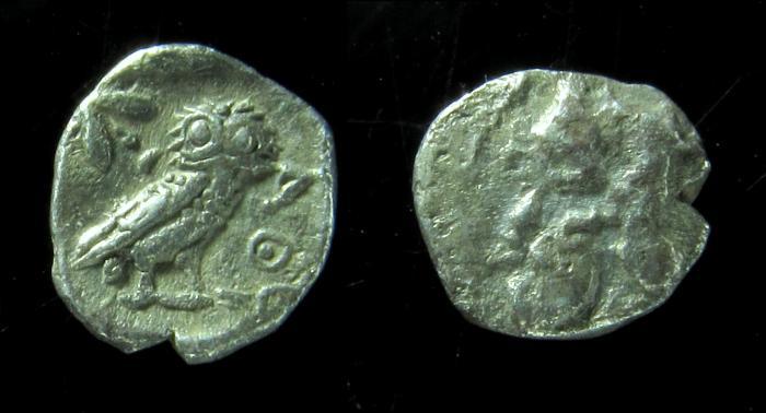 Ancient Coins - Philistia (5-4 centuries BC). Silver ma'ah-obol (10 mm, 0.6 gm, ). Rare!