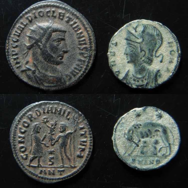 Ancient Coins - Lot of 2 Bronze Roman Coins. Diocletian and Constantine I, Commemorative.