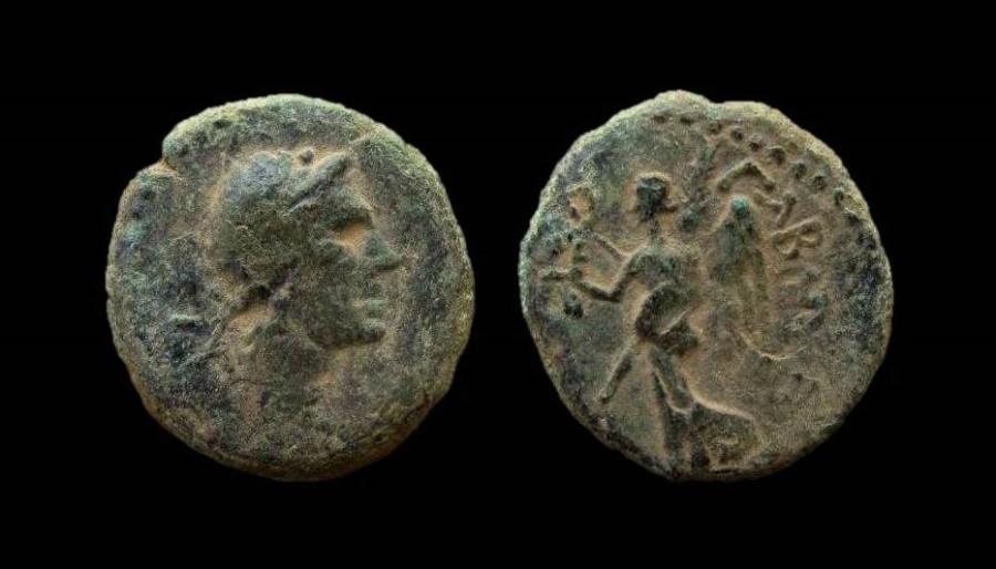 Ancient Coins - Syria. Decapolis, Nysa Scythopolis. Aulus Gabinius, Governor of Syria (57 - 55 BC). AE 19 mm. Rare.