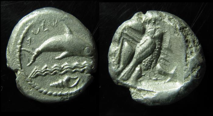 Ancient Coins - Phoenicia, Tyre. Circa 430 BC. Silver Double Shekel. Rare!