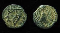Ancient Coins - JUDAEA, HEROD ARCHELAUS .  IRREGULAR PRUTAH, CRUDE STYLE!