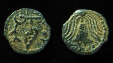 Ancient Coins - JUDAEA, HEROD ARCHELAUS .  IRREGULAR PRUTAH, CRUDE STYLE!