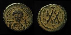 Ancient Coins - BYZANTINE EMPIRE. Maurice Tiberius, 582-602 AD. Æ Half Follis of Antioch mint