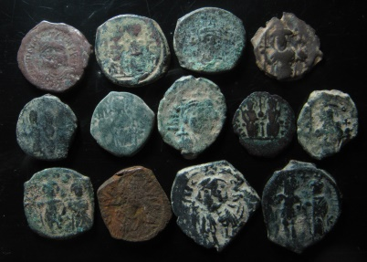 Ancient Coins - LOT OF 13 BYZANTINE BRONZE COINS
