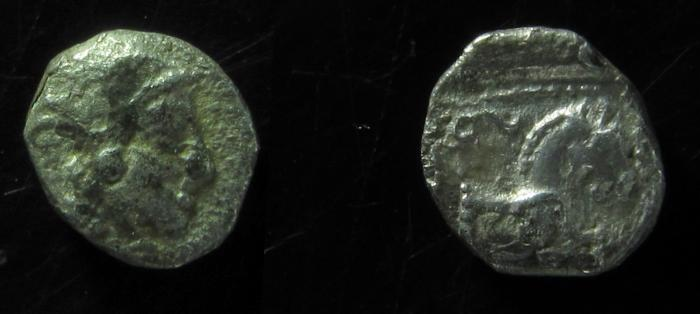 Ancient Coins - Philistia (5-4 centuries BC).Gaza, Silver ma'ah-obol (9 mm, 0.6 gm, ). Rare!