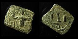 "Ancient Coins - ARAB-BYZANTINE, AE FALS, 21MM ,PRE-REFORM COINAGE, IMITATION OF CONSTANS II, RETROGRADE ""CON"""