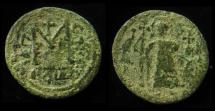 ISLAMIC,Umayyad Caliphate,Arab-Byzantine coinage.Circa 680s. Æ Fals. Damascus mint.20mm (3g)