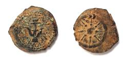 Ancient Coins - Judean Kingdom, Alexander Jannaeus. 104-76 BC. AE 16 mm, Prutah. Widow's mite. Full Legend!