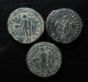 Ancient Coins - Lot of 3 Maximianus large bronze follis.  28mm, VF+