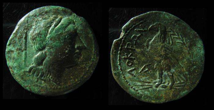 Ancient Coins - BRUTTIUM, Lokroi Epizephyrioi. Ca. 287-278 BC. 29mm, Persephone / Eagle. Scarce
