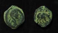 Ancient Coins - Egypt, Alexandria. Trajan (98-117).  AE 14 mm, Dichalkon, year 13 (109/10). Rare.