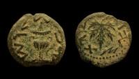 Ancient Coins - Judaea. First Jewish War. AE prutah.   Year 3, Jerusalem mint.