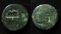 Ancient Coins - 10th Fretensis  Roman Legion. Countermarks on AE 22 mm of unidentified Judaean city coin.