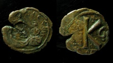 Ancient Coins - Heraclius and Heraclius Constantine, AE 22 mm, Half Follis with countermark of Heraclius, Seleucia Isauriae.
