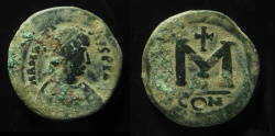 Ancient Coins - ANASTASIUS, 491-518 AD. AE25MM; FOLLIS CONSTANTINOPLE MINT 11.90GR ! Unusually Heavy and thick coin!