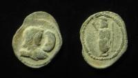 Ancient Coins - Egypt, Alexandria. Lead Tessera. Antinous, favorite of Hadrian / Serapis.
