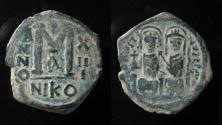 Ancient Coins - Justin II & Sophia AE 30 mm, Follis. 565-578 AD. Nicomedia mint.