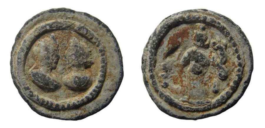 Ancient Coins - Egypt, Alexandria. Festival of Isis. Lead tessera: Antinous and Isis. 22 mm.