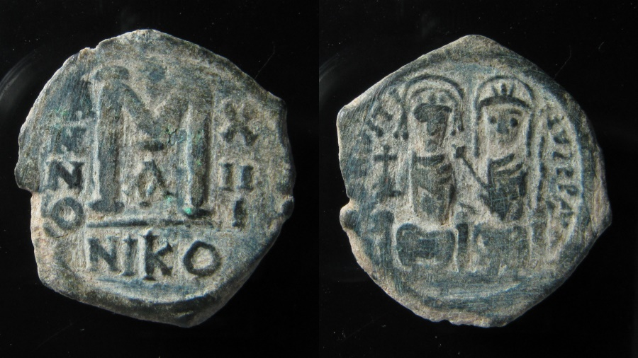 Ancient Coins - Justin II & Sophia AE 30 mm, Follis. 565-578 AD. Nicomedia mint.