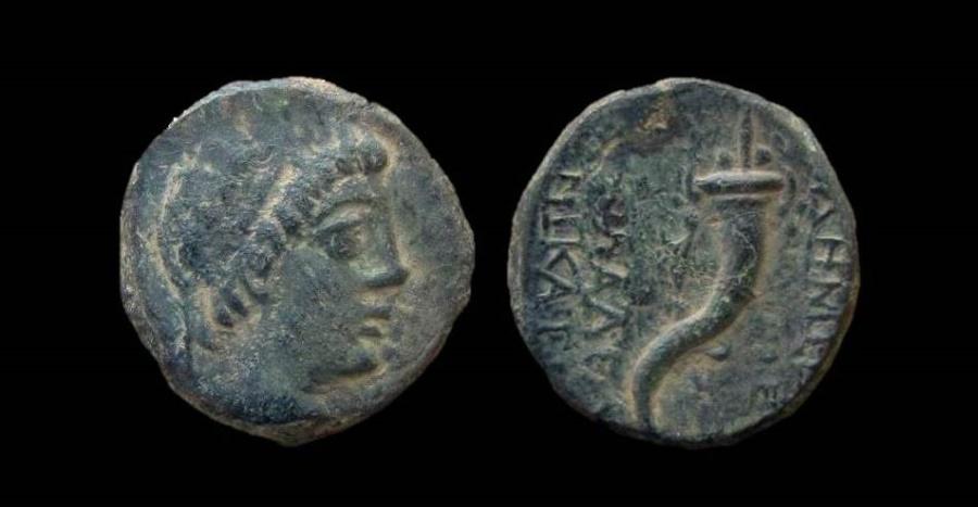 Ancient Coins - Seleukid Kingdom, Demetrios II. AE 17 mm. Pentalpha mint. Ex-Rare, less that 5 known.