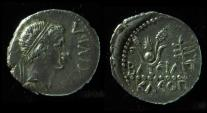 MAURETANIA. JUBA II & CLEOPATRA SELENE, 25 BC-23 AD. SILVER DENARIUS
