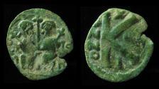 Ancient Coins - UMAYYAD, Arab-Byzantine.  NYSA-SCYTHOPOLIS (Beth-Shean). Highest Rarity Half-Follis