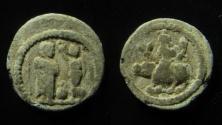 Ancient Coins - Egypt, Alexandria. Lead Tessera. Nike crowns the Emperor / Nilus on the hippopotamus. RARE