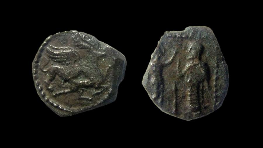 """Ancient Coins - Samaria. silver Ma'eh - """"Obol"""", mid-fourth century BC."""