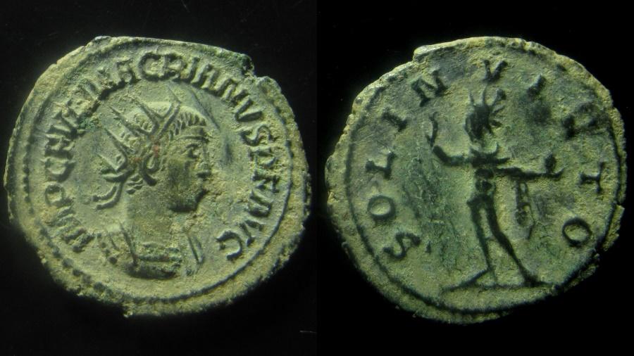 Ancient Coins - Macrianus, 260 - 261 A.D. Billon antoninianus. Antioch mint. Rare.