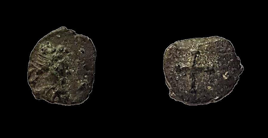 World Coins - Vandals, imitation of Late Roman coin. AE 7 mm.