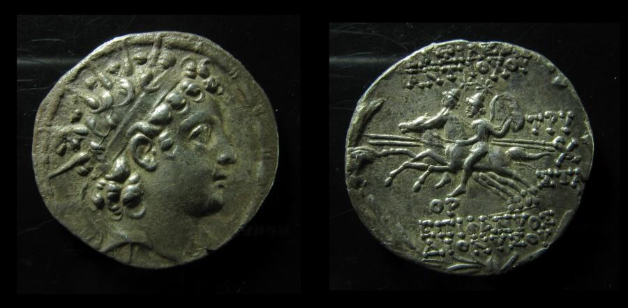 Ancient Coins - Seleukid Kingdom. Antiochos VI Dionysos Nikator Silver Tetradrachm. Antioch, circa 143/142 BC.EF!