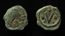 Ancient Coins - Revolt of the Heraclii (608-610). AE 14 mm, 5 Nummi. Carthage. Very Rare!