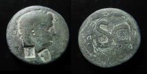 Ancient Coins - Claudius, ( 41 - 54 A.D.), Antioch .  Two countermarks, Athena and Double cornucopia.