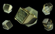 14kt Solid Gold Ring with Bronze Byzantine Intaglio with St. George.