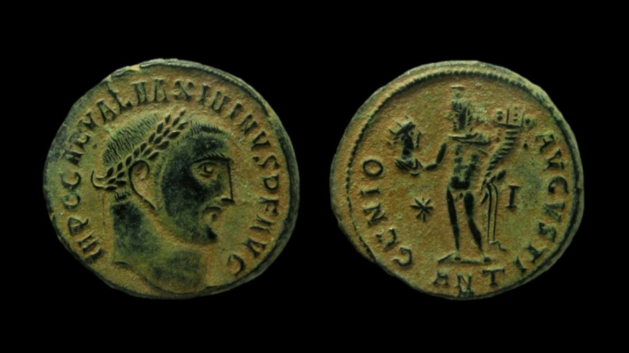 Ancient Coins - Maximinus II. 310-313 AD. AE Follis. Antioch mint, 10th officina.