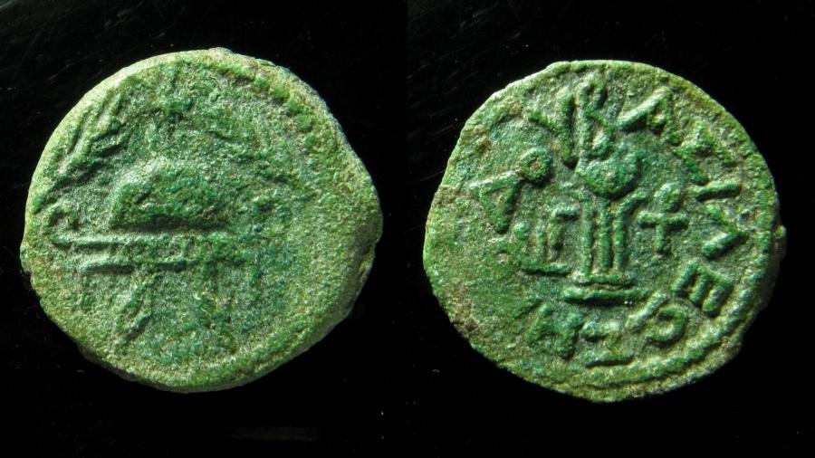 Ancient Coins - Judaea, Herod the Great, 37 - 4 B.C. 8 prutot. AE 23 mm. Beautiful green patina.