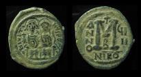 Ancient Coins - JUSTIN II & SOPHIA, 565 - 578 AD. AE Follis. Mint of Nicomedia.