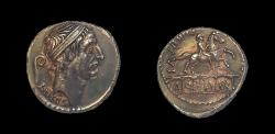 Ancient Coins - Roman Repulic. L. Marcius Philippus or Q. Marcius Philippus. 57 B.C. Silver denarius, 17 mm, 3.7 g. Rome mint.