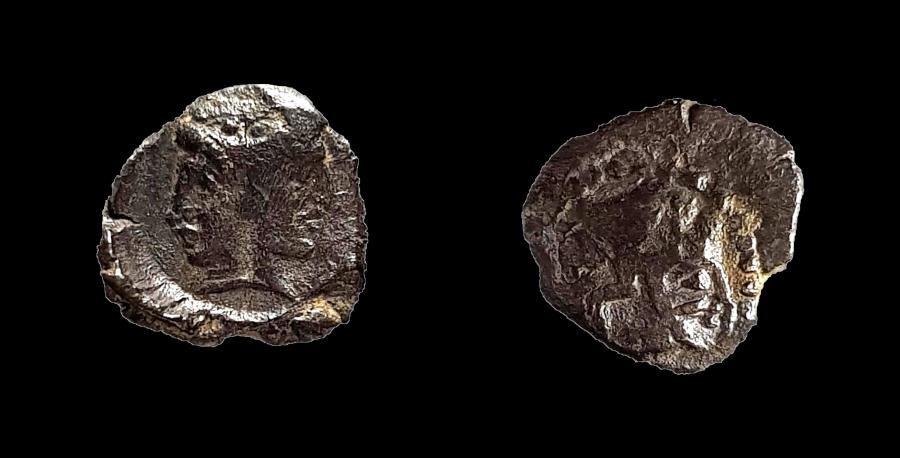 Ancient Coins - Samaria, Silver Obol. Quadruple male head! Second known, ex-rare example.