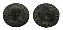 Ancient Coins - Crispus. Caesar, 316-326. AE Follis. Thessalonica Mint. 18.5 mm.