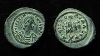 Justinian I, AE 17 mm, Decanummium, Carthage. Ex-Fine.