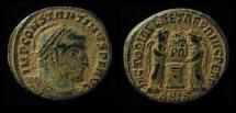 Constantine I, AE follis, 318 AD, Siscia Mint, Desert patina