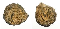 Ancient Coins - Judaea, Herodians. Herod I (the Great). 40-4 BCE. AE Lepton ,12mm, Jerusalem mint.